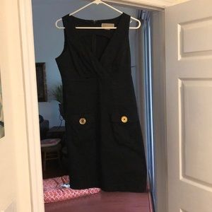MK black dress with gold accent